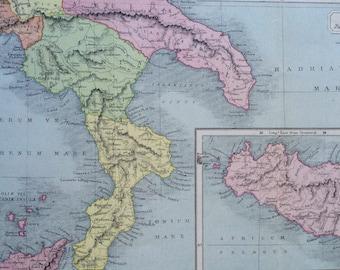 1908 Italiae Pars Meridionalis Original Antique Classical History Map - Italy - Sicily - Ancient History - Classics