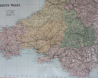 1868 South Wales from the Ordnance Survey Large Original Antique Map showing railways, roads & footpaths - Wall Map - Vintage Decor