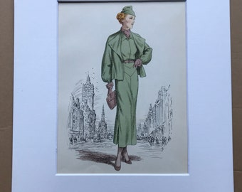 1949 Original Vintage Fashion Illustration - 1935-36 - The Pursuit of Fashion - Mounted and Matted - Available Framed