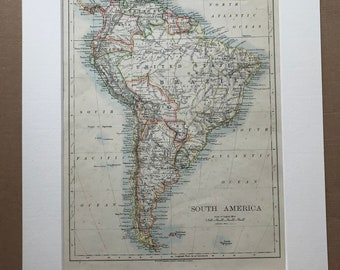 1906 South America Original Antique Map - Mounted and Matted - Available Framed