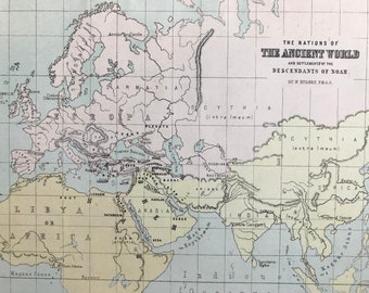 1871 The Nations of the Ancient World and settlements of the descendants of Noah Original Antique Map - Mounted and Matted Available Framed