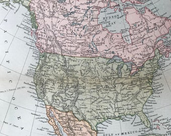 1904 North America Original Antique Map - Available Mounted and Matted - Vintage Wall Map - USA - Mexico - Canada - Central America