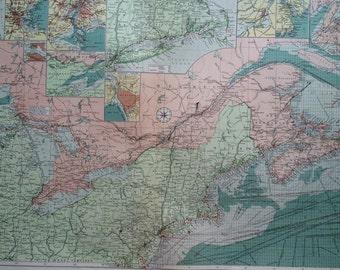 1920 American Atlantic Ports (north) mercantile marine map - USA & Canada shipping trade - extra large original vintage map