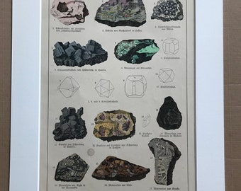 1895 Large Original Antique Mineral Lithograph - Rocks - Chromite - Crystals - Geology - Crystallography - Mineralogy - Available Framed