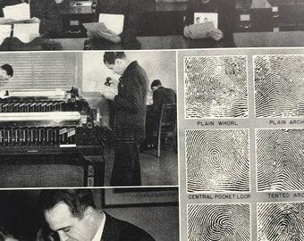 1951 Fingerprint Recording at the Federal Bureau of Investigation (FBI) Original Vintage Print - Mounted and Matted - Available Framed