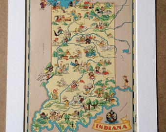 1935 Indiana Original Vintage Cartoon Map - Ruth Taylor - Mounted and Matted - Whimsical Map - United States
