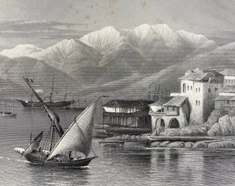 1880 Bay of Beirut, Lebanon Original Antique Steel Engraving - Mounted and Matted - Available Framed - Victorian Decor