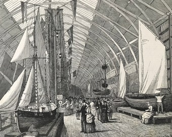 1883 Boats and Nets in the British Sea Fisheries Gallery Original Antique Print - Mounted and Matted - Available Framed