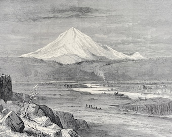 1894 Mount Hood, Oregon Original Antique Engraving - Mounted and Matted - Available Framed
