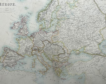 1898 Europe Large Original Antique A & C Black Map - Continent Map - Wall Decor - Gift Idea