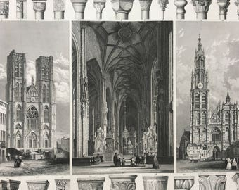 1849 Gothic Cathedral Architecture Large Original Antique Engraving - Mounted and Matted -  Pillar - Column - Available Framed