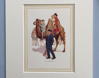 1937 The Camel Ride Original Vintage Margaret Tarrant Children's Book Illustration - Nursery Decor - Mounted and Matted - Animal Art