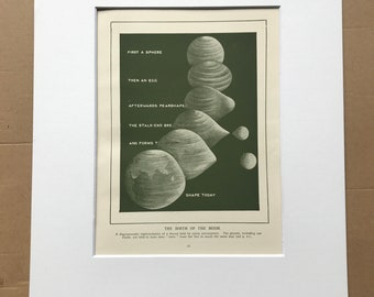 1937 The Birth of the Moon Original Vintage Print - Astronomy - Education - Mounted and Matted - Available Framed