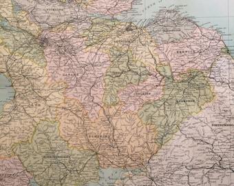 1898 SCOTLAND (South) Large Original Antique Map, 14 x 18.5 inches, historical wall decor, Bartholomew map, Home Decor, Cartography