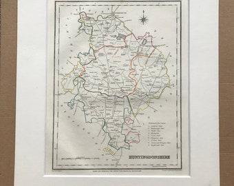 1845 Huntingdonshire Original Antique Hand-Coloured Engraved Map - UK County Map - Decorative Art - Cartography - Wall Decor - England