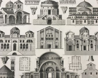 1849 Byzantine or Orthodox Church Architecture Large Original Antique Print - Mounted and Matted - Available Framed - Victorian Decor