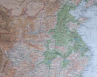 1922 CHINA Large Original Antique Times Atlas Physical Map with inset map of Peking (Beijing) - Large Detailed Bathy-Orographical Wall map