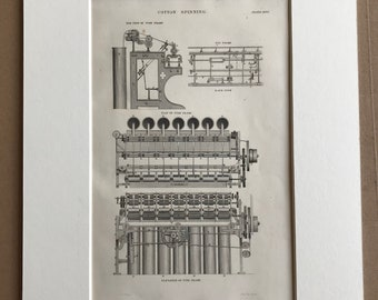 1858 Cotton Spinning - Tube Frame and Fly Frame Original Antique Engraving - Machinery - Victorian Technology - Available Framed