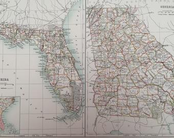 1898 Florida and Georgia Large Original Antique A & C Black Map - United States - Victorian Wall Decor - Wedding Gift Idea