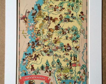 1935 Mississippii Original Vintage Cartoon Map - Ruth Taylor - Mounted and Matted - Whimsical Map - United States