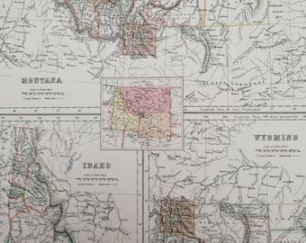 1898 Montana, Idaho and Wyoming Large Original Antique A & C Black Map - United States - Victorian Wall Decor - Wedding Gift Idea