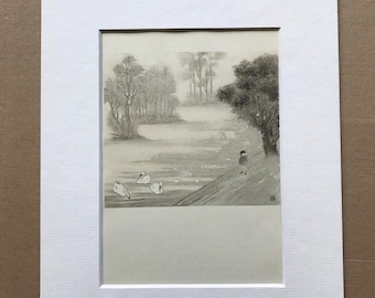 1946 Seagulls in Regents Park Original Vintage Chiang Yee Illustration - London - Mounted and Matted - Available Framed