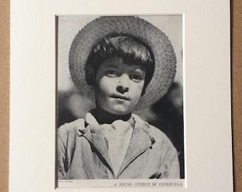 1940s Venezuelan Boy Original Vintage Print - Mounted and Matted - Portrait Photography - Child - Children - Available Framed