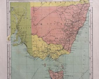 1865 New South Wales, Victoria, South Australia & Tasmania Original Antique Hand-Coloured Engraved Square Map - Nelson's Atlas - Wall Decor