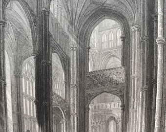 1836 Canterbury Cathedral - View in the Nave Original Antique Engraving - Architecture - Mounted and Matted - Available Framed