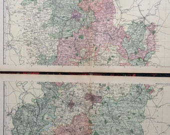 1896 Worcestershire and Gloucestershire Large Original Antique Map Set showing canal, railways, stations and crossroads