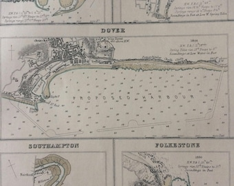 1871 Ports and Harbours on the Southeast Coast of England Original Antique Map - Southampton - Folkestone - Dover - Ramsgate - Ramsgate