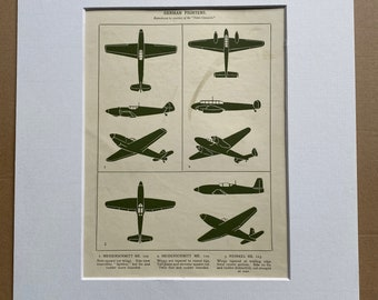 1951 German Fighters Original Vintage Print - Aircraft - Airplane - Mounted and Matted - Available Framed