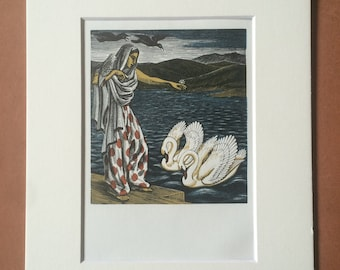 1965 The Bird Talisman Original Vintage Wood Engraving Illustration - Middle East Swan Bird - Mounted and Matted - Available Framed
