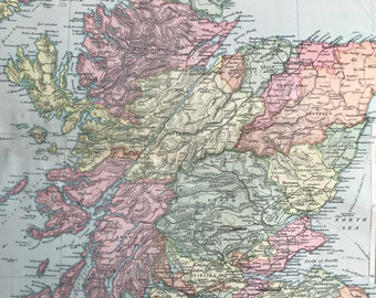 1896 Scotland Large Original Antique Map showing railways, steam routes, canals, battlefields - inset maps of Edinburgh and Glasgow
