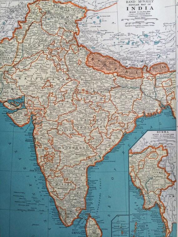 1937 INDIA Original Vintage Map 11 x 14 inches Rand McNally