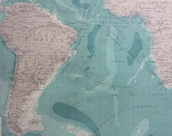 1922 ATLANTIC OCEAN (South) Large Original Antique Times Atlas Map on Mercator's Projection showing ocean depth & steamer routes
