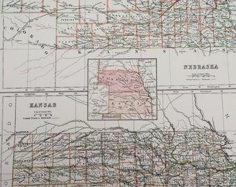1898 Nebraska and Kansas Large Original Antique A & C Black Map - United States - Victorian Wall Decor - Wedding Gift Idea