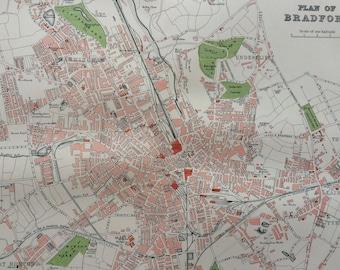 1895 Bradford original antique city plan map, England, cartography, gift idea - Available Framed - Framed Map