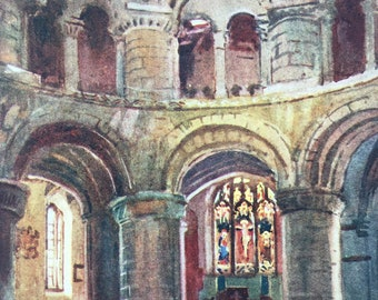 1907 Norman Church of the Holy Sepulchre, Cambridge Original Antique Print - Mounted and Matted - Available Framed