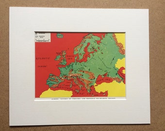 1940s Europe Map showing centres of Industry and Principal Oil-bearing regions Original Vintage Print - Mounted and Matted, Available Framed