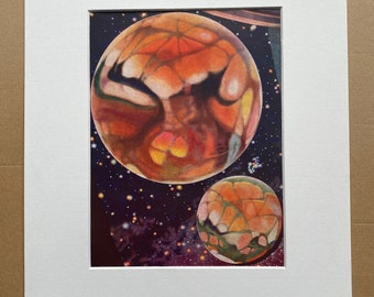 1940s Mars Illustration Original Vintage Print - Mounted and Matted - Astronomy - Planet - Available Framed