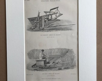 1858 Reaping Machines Original Antique Engraving - Farming Machinery - Agriculture - Victorian Technology - Available Framed