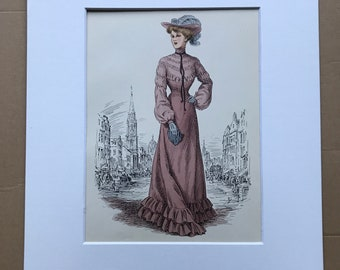 1949 Original Vintage Fashion Illustration - 1903 - The Pursuit of Fashion - Mounted and Matted - Available Framed