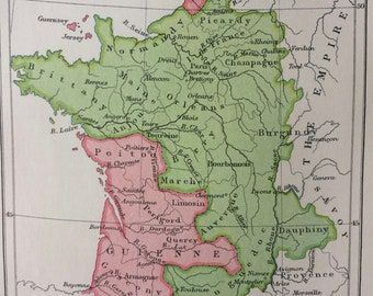 1909 France at the Treaty of Bretigny Original Antique Map, 8 x 10 inches - Matted and Available Framed - French History