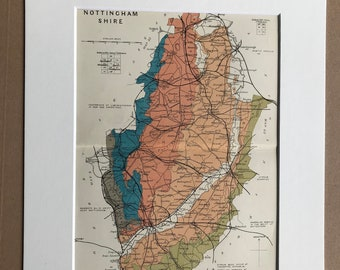 1913 Nottinghamshire - Original Antique Small Geological Map - UK County Map - Geology - Available Framed