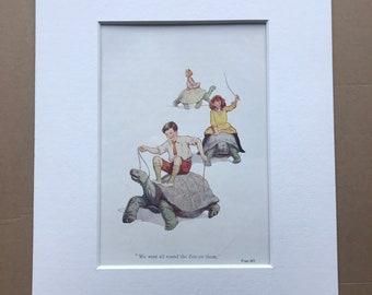 1919 Tortoises Original Vintage Margaret W. Tarrant Illustration - Zoo - Animal Art - Available Framed - Nursery Decor - Children's Book