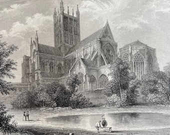 1836 Wells Cathedral - Southeast View Original Antique Engraving - Architecture - Somerset - Mounted and Matted - Available Framed