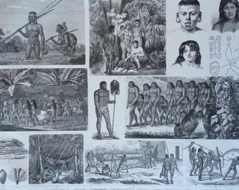 1870 Brazilian Native Tribes Art and Culture Large Original Antique Engraved Illustration - Ethnography - Anthropology - Brazil
