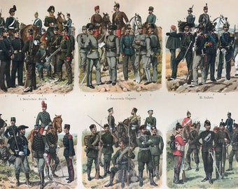 1896 Hunters, Guards Large Original Antique Lithograph - Available Mounted and Matted - Military Decor