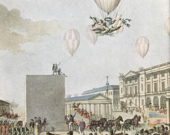 1948 Festivities at the Coronation of Napoleon 1804 Original Vintage Print - Mounted and Matted - Available Framed - Aeronautics - Balloon